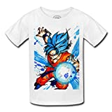 T-shirt enfant god goku dragon ball super cheveux bleu sangoku dbz manga