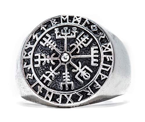 Windalf Runen Wikinger Ring VEGVESIR h: 1.8 cm Asatru Lebens Vikings Kompass Vintage Glücksamulett 925 Sterlingsilber (Silber, 52 (16.6))