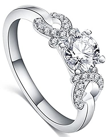SaySure - AAA Rhinestone CZ Diamond Wedding Bands Ring (SIZE : 8)