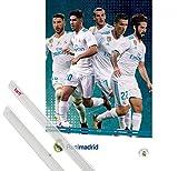 1art1 Poster + Hanger: Fußball Poster (91x61 cm) Real Madrid 2017/2018, Grupo Accion Inklusive EIN Paar Posterleisten, Transparent