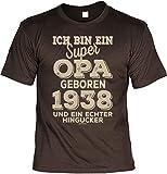 Mega-Shirt Cooles T-Shirt zum 80. Geburtstag T-Shirt Ich bin ein super Opa geboren 1938 Geschenk zum 80 Geburtstag 80 Jahre Geburtstagsgeschenk 80-jähriger