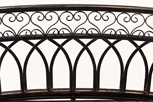 CLP Metall-Gartenbank AMANTI mit Armlehne, Landhaus-Stil, Eisen lackiert, Design antik nostalgisch, Form oval ca. 110 x 55 cm Bronze - 5