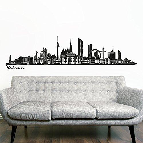 Preisvergleich Produktbild Wandkings Skyline Wandaufkleber Wandtattoo - 125 x 30 cm in schwarz - Deine Stadt wählbar - Wien