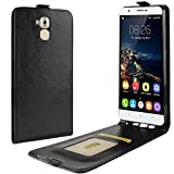 HualuBro Oukitel U16 Max Hülle, Premium PU Leder Leather HandyHülle Tasche Schutzhülle Flip Case Cover für Oukitel U16 Max Smartphone (Schwarz)