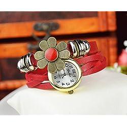 Liroyal Retro Wrap Around Flower Sense Weave Leather Watch Bracelet Wrist Watch Wristband