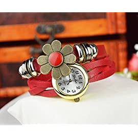 Liroyal Retro Weave Wrap Around Leather Bracelet Lady Wrist Watch Quartz Watch