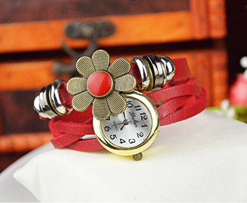 - 51mTZX1bL8L - Liroyal Retro Wrap Around Flower Sense Weave Leather Watch Bracelet Wrist Watch Wristband