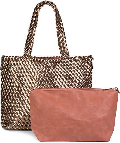 styleBREAKER XXL Wendetasche in Flecht-Optik, Shopper Tasche, 2 Taschen, Handtaschen Set, Bag in Bag, Schultertasche, Damen 02012163, Farbe:Gold/Kupferbraun -