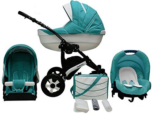 Lux4Kids Venezia Kinderwagen Komplettset (Autositz & Adapter, Regenschutz, Moskitonetz, Schwenkräder) 14 Reef & Ecoleder Weiß