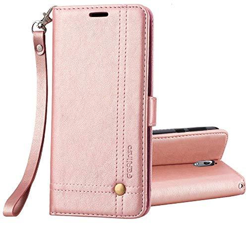 Ferilinso Cover Nokia 3.1 Plus,Custodia Cover Pelle Elegante retrò con Custodia Slot Holder per Carta di Credito Custodia di Chiusura Magnetica per Flip per Nokia 3.1 Plus(Oro Rosa)