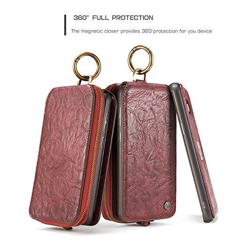 Handy-Hüllen & Hüllen, CaseMe Leder Brieftasche Case mit Magnetic PC + TPU Back Cover, abnehmbare Folio, Bargeld Halter Zipper Design, für Samsung Galaxy S8 ( Farbe : Rot ) Rot