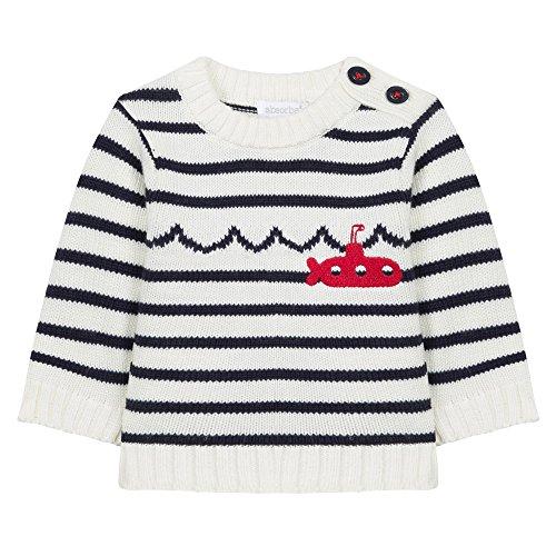 Absorba Boutique Baby-Jungen Pullover Marin d'Eau Douce LG, Elfenbein (Ecru 11), 74 (Herstellergröße: 12M) (Baby-jungen Stricken Pullover)