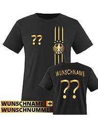 Herren Fußball T-Shirt bedruckbar - WUNSCHNAME & NUMMER - WM / EM / DEUTSCHLAND - Rundhals Tshirt für Herren in Schwarz - Deutschland Trikot in div. Größen