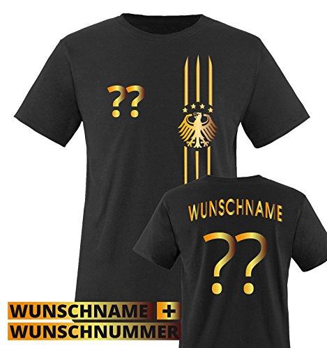 TRIKOT - MOTIV1 - DE - WUNSCHDRUCK - Kinder T-Shirt - Schwarz / Gold Gr. 86-92 (Valentinstag T-shirts Für Kinder)