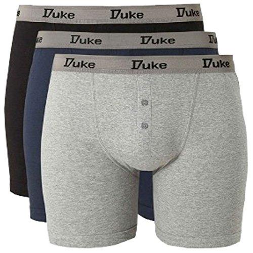 groß King-Size Duke London Fahrer KS2005 Herren 3er-PacK Boxer Shorts größe 1XL BIS 6XL - Schwarz/Blau/Grau, XXXXXX-Large