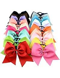 yhxx Ylen 20pcs Niñas Mujeres Sweet XL 8en lazos de pelo con bandas de goma