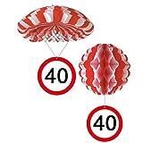 Sortiert 1 Deko Ballon oder 1 Deko Fallschirm mit Schild 40. Geburtstag
