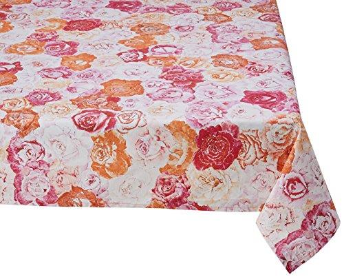 Georges G T22004/11-40 Les Roses Nappe Rectangulaire Coton Multicolore/Rose Enduit 250 x 180 cm