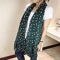 Mode Damen Frauen Polka Punkte Kreis Muster Weich Chiffon Tuch Schal Stola Grün