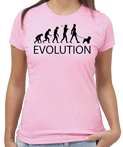 T-Shirt EVOLUZIONE DEL DOG LOVER - MAGLIETTA PER AMANTI CANI - by New Indastria - Donna-M - Rosa