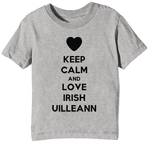 Keep Calm and Love Irish Uilleann Kinder Unisex Jungen Mädchen T-Shirt Rundhals Grau Kurzarm Größe XS Kids Boys Girls Grey X-Small Size XS (Irish Love Boys-t-shirts)