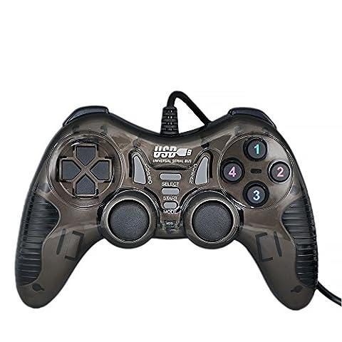 QUMOX feedback de vibration USB par fil Manette de jeu Gamepad Gaming Controller Joystick Pour PC(Windows XP/7/8/8.1/10) - [noir]