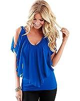 Susenstone Frauen-Sommer-unregelmäßiges Chiffon- Blusen weg vom Schulter-Shirts Tops