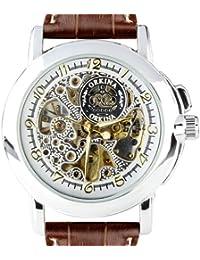 ORKINA MG015-L-White/Brown - Reloj para hombres, correa de cuero color marrón