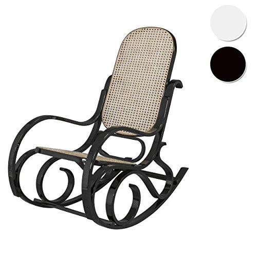 Due-Home - Mecedora sillón balancin, Acabado en Negro Brillo Lacado, Medidas:  92,5  67  11,5 cm