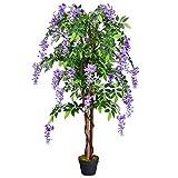 COSTWAY Kunstbaum mit Blüten Kunstpflanze Zimmerpflanze Kunstblume Dekopflanze künstlich Farbwahl (lila)