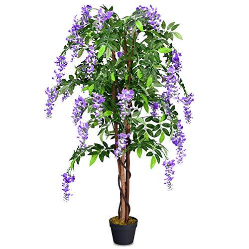 COSTWAY Kunstbaum mit Blüten Kunstpflanze Zimmerpflanze Kunstblume Dekopflanze künstlich Farbwahl