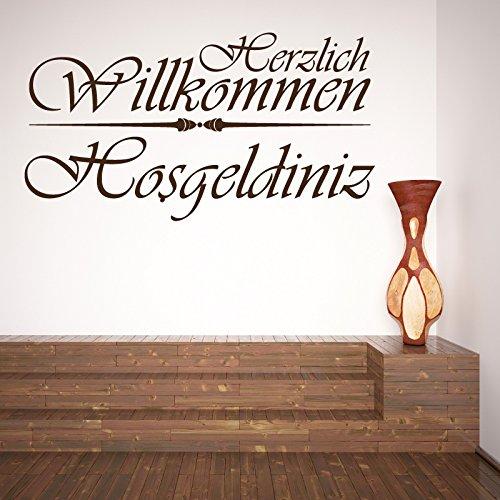 A415 | Meccastyle | Wandtattoos - Herzlich Willkommen - Hosgeldiniz - L - 115cm x 60cm- 01. Schwarz