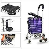 Treppensteigen Warenkorb Einkaufswagen Trolley Aluminiumlegierung Mit 35L Kapazität Tasche 40 kg Fashion Portable Folding Mit Sitz und Becherhalter