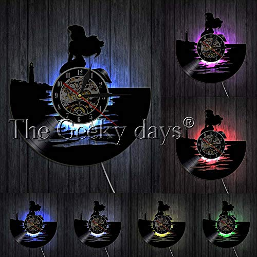 OLILEIO Fantasie-Meerjungfrau-Ozean-Unterwasserdekoration-Wanduhr-Prinzessin Ariel-Vinylaufzeichnungs-Wanduhr-Geschenk für ihre Fee Seamaid-Uhr, mit LED