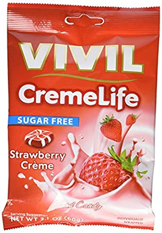 Vivil Sugar Free Sweets Strawberry Cream Hard Candies 60 g (Pack of 6)