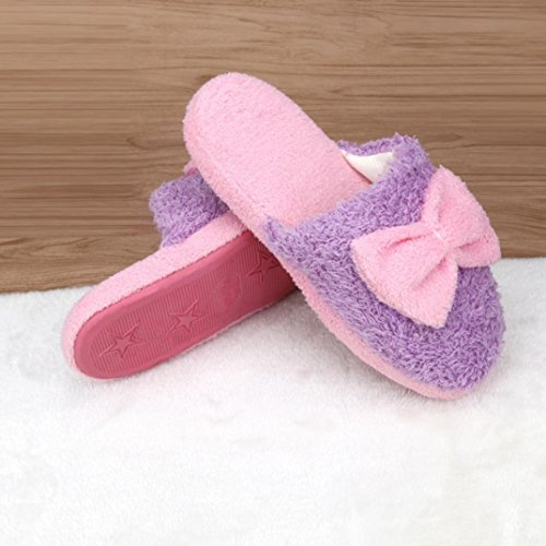 Per Donna,Amlaiworld Pantofole di cotone caldo coperta antiscivolo Bowknot Viola