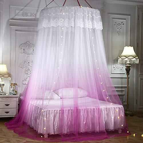 GLXQIJ GroßE Romantische Farbverlauf Kuppel Moskitonetz Vorhang Prinzessin Bett Baldachin Spitze Runde Zelt BettwäSche, Mit Lichterkette,Pink