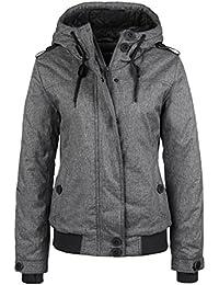 SUBLEVEL Damen Winterjacke leicht meliert | Sportliche Jacke mit Kapuze & Daumenloch