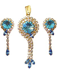 DollsofIndia White And Blue Stone Studded Pendant Set (LA73-mod) - Blue