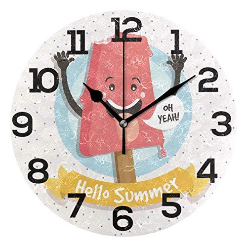 HomeMats Ice Hello Summer Round Silent Wanduhr Non Ticking Dekorative Uhren für Küche, Wohnzimmer, Schlafzimmer, Badezimmer, Büro