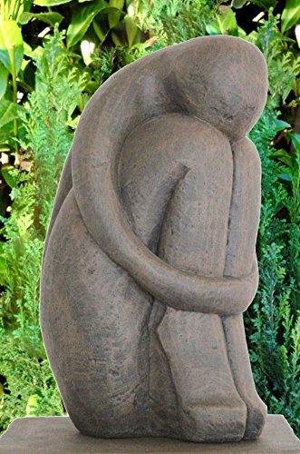 Tiefes Kunsthandwerk Steinfigur Single in Dunkelbraun, abstrakte Deko-Figur für Haus und Garten, moderne Statue als Garten-figur