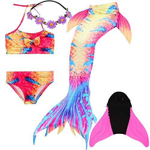 COZY HUT Meerjungfrau Schwanz mit Meerjungfrau Badeanzug Schwanzflosse Zum Schwimmen Kostüm Für Kinder Mädchen Bikini Set und Monoflosse, 5 Stück ()