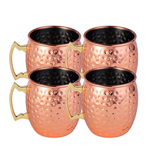 Newcomdigi Kit di 4 Tazza da Moscow Mule Mug Cup Martellato in Acciaio Inox con Rivestimento in Rame Capacità 500ml per Cocktail Whisky Birra Bevanda Fredda - Oro Rosso