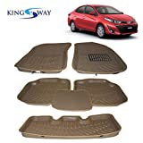#3: Kingsway 3D/4D Car Floor Mats for Toyota Yaris (Model 2018 Onwords)(Beige Color, PVC)