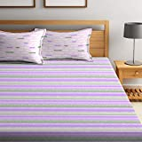 Bombay Dyeing Cynthia 120 TC Polycotton Double Bedsheet with 2 Pillow Covers - Violet