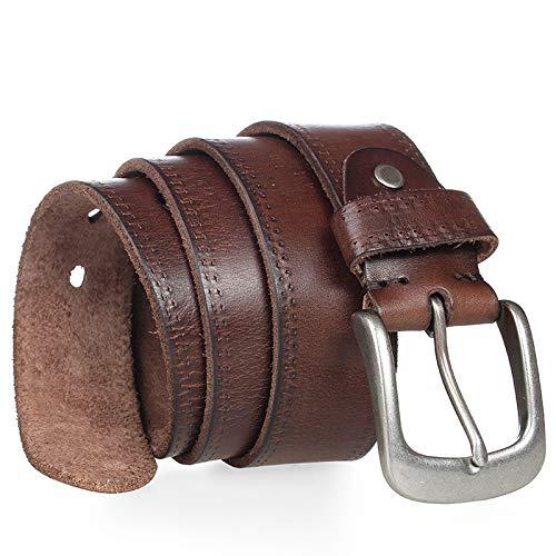XZKTCMG GürtelLedergürtel Vintage Cowboys Full Grain Soft Coffee Designer Gürtel Hochwertiges Armband, Kamel, 110CM Grain Full Metal