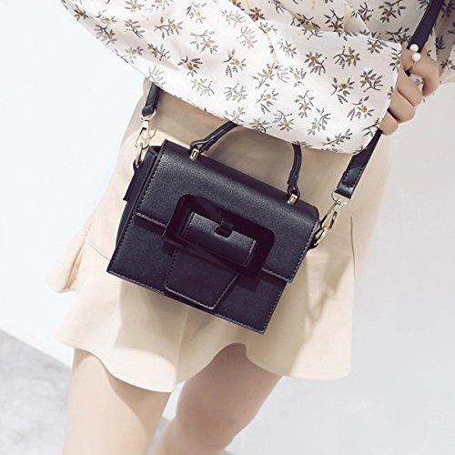 Weibliche mode kleine Hirsche kleine quadratische tasche Schulter messenger bag Schwarz