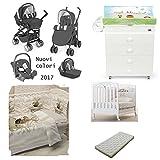 Cam – 3-er Baby-Ausstattungs-Set bestehend aus einem Kinderwagen, einem Kinderbett mit Bettdecke, Matratze und Fotodruck-Motiven sowie einem Wickeltisch mit Wickelauflage 628 GRIGIO ANTRACITE