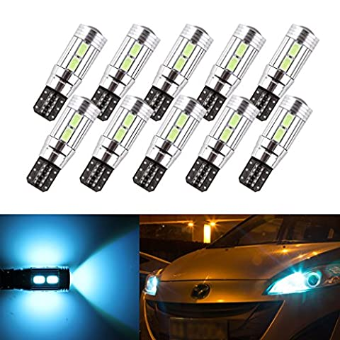 S&D 10 x T10 W5W 10SMD CANBUS OBC Error Free Blubs Tail Light DC-12V Ice Blue