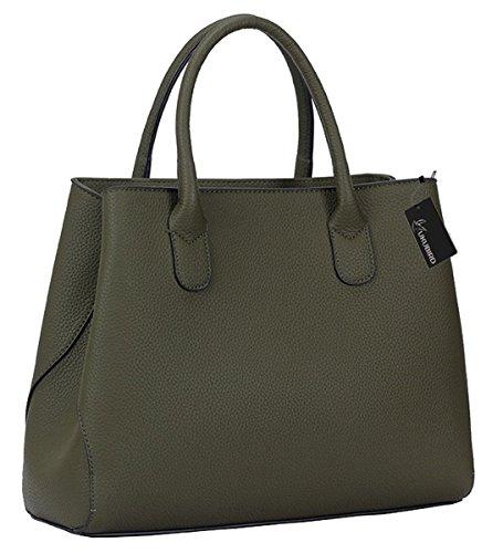 Kukubird Bali High Quality Faux Leather Two Straps Design Top-Handle Shoulder Tote Handbag - Green (Bali Grün Womens)